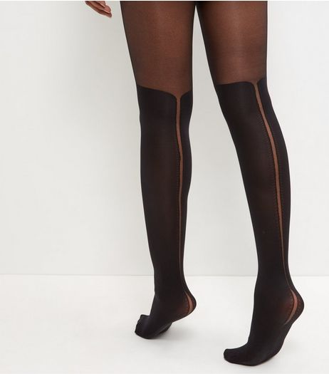 Black Scallop Hem Tights | New Look