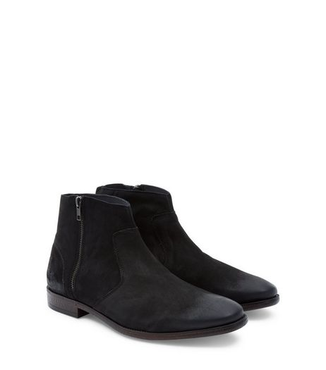 Black Suede Zip Side Chelsea Boots | New Look