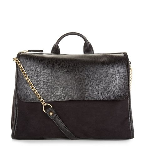Black Leather-Look Satchel | New Look