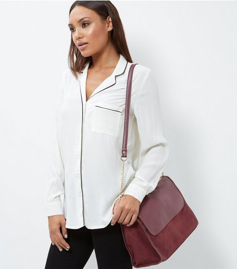 Burgundy Leather-Look Satchel | New Look