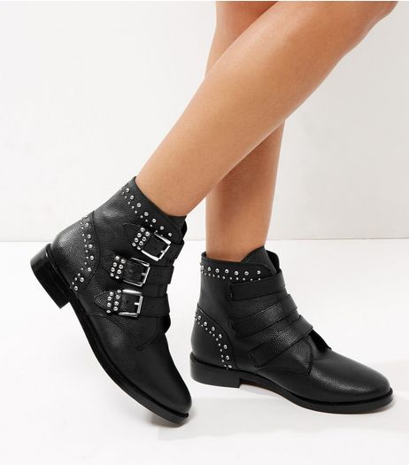 Black Leather Studded Buckle Biker Boots | New Look