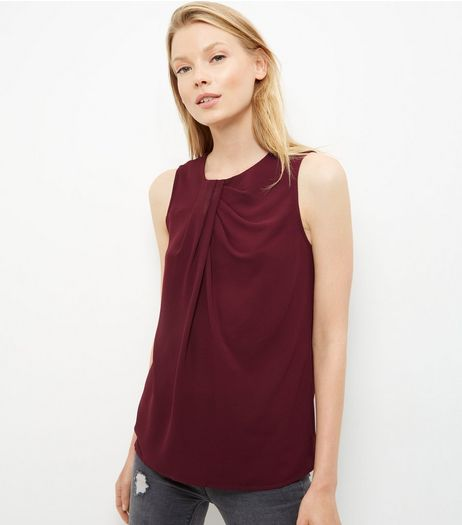 Burgundy Pleated Neck Sleeveless Top  | New Look