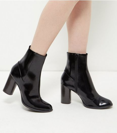 Black Patent Block Heel Ankle Boots  | New Look