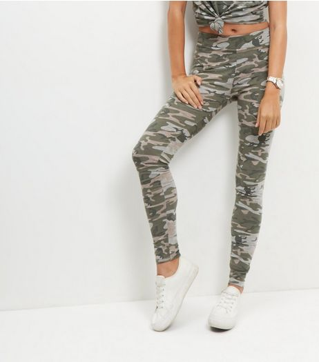 Green Camo Print High Waisted Leggings  | New Look