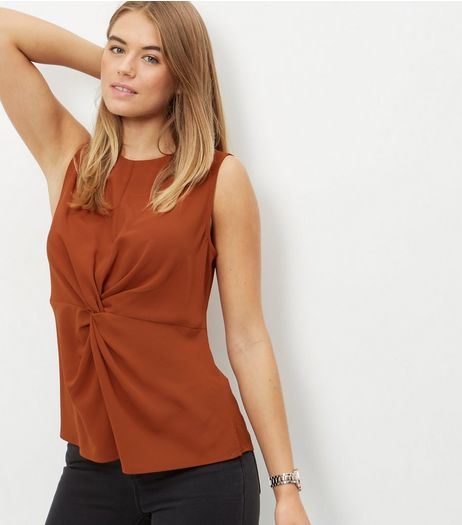 Brown Twist Front Sleevless Top  | New Look