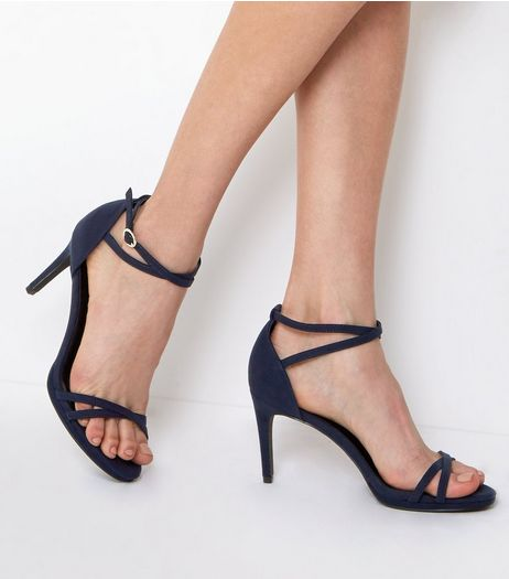 Navy Suedette Cross Strap Heeled Sandals | New Look