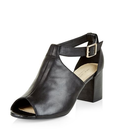 Black Comfort Leather Cut Out Peep Toe Boots  | New Look