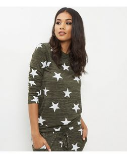 Khaki Star Print Sweater | New Look