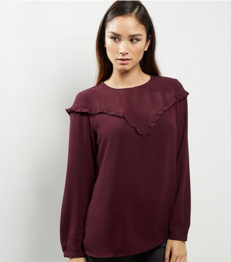 Dark Purple Frill Trim Long Sleeve Top  | New Look