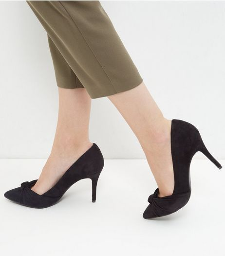 Black Comfort Suedette Knot Pointed Heels | New Look
