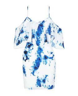 Parisian White Floral Print Cold Shoulder Dress | New Look