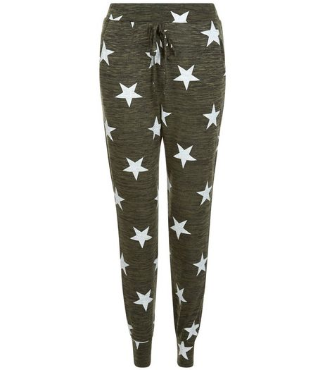 Khaki Star Print Joggers | New Look