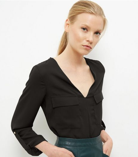 Black Rolled Sleeve Bodysuit  | New Look