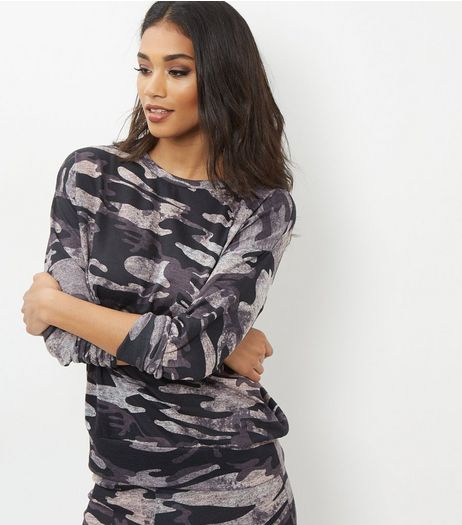 Dark Grey Camo Print Sweater | New Look