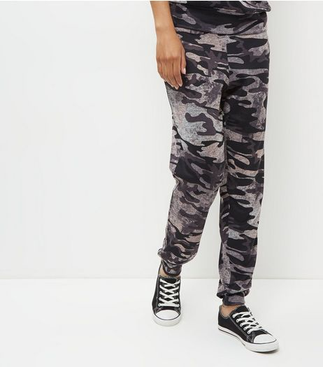 Dark Grey Camo Print Cuffed Joggers | New Look