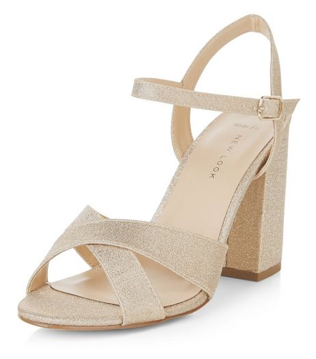 Wide Fit Gold Glitter Cross Strap Block Heels  | New Look