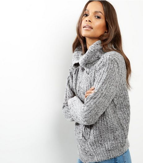 Blue Vanilla Grey Cable Knit Cowl Neck Jumper | New Look