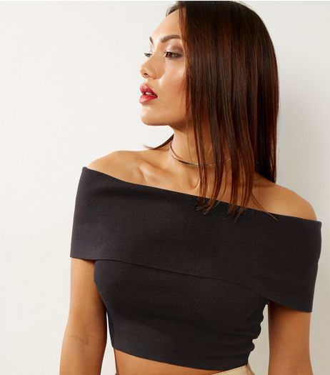 Blue Vanilla Black Funnel Neck Crop Top  | New Look