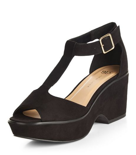 Teens Black Suedette Peep Toe Wedges | New Look