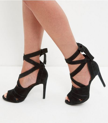 Black Leather Tie Up Heeled Sandals  | New Look