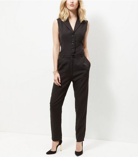 Mela Black Button Front Jumpsuit  | New Look