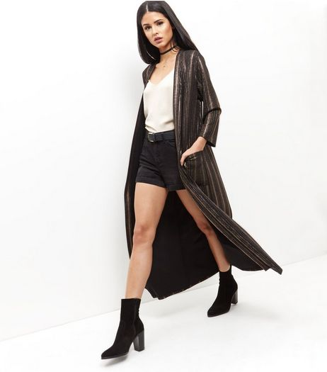 Mela Black Stripe Longline Jacket  | New Look