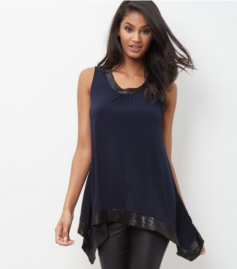 Mela Navy Sequin Trim Sleeveless Top  | New Look