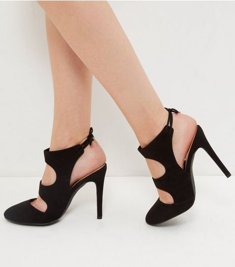 Black Suedette Cut Out Tie Back Heels  | New Look