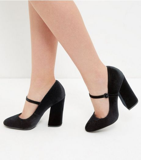 Black Velvet Strap Front Block Heels | New Look