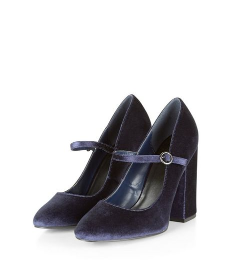 Navy Velvet Strap Front Block Heels | New Look