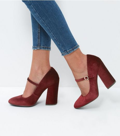 Dark Red Velvet Strap Front Block Heels | New Look