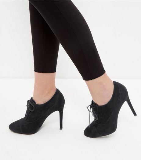 Black Suedette Lace Up Pointed Shoe Boots  | New Look