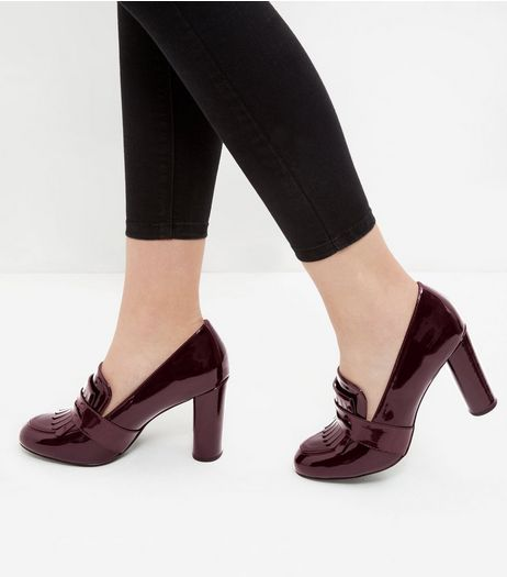 Dark Red Patent Block Heel Loafers  | New Look