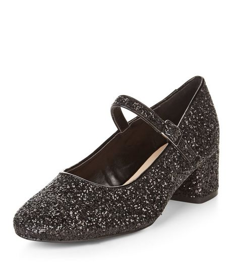 Black Glitter Strap Front Court Shoes  | New Look