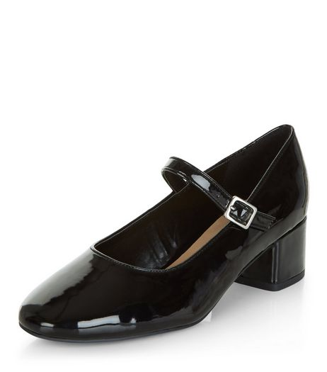Black Patent Strap Front Court Shoes  | New Look