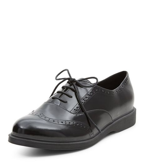 Black Embossed Chunky Brogues | New Look