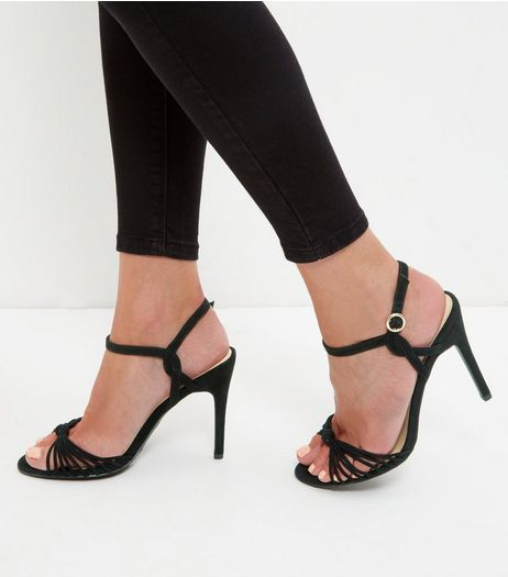 Black Suedette Knot Strappy Heeled Sandals | New Look