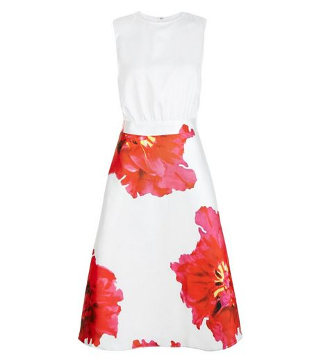 AX Paris Cream Floral Print 2 in 1 Skater Dress | New Look