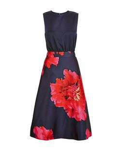 AX Paris Navy Floral Print 2 in 1 Skater Dress | New Look