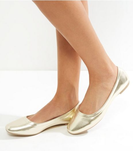 Gold Metallic Square Toe Ballet Pump | New Look