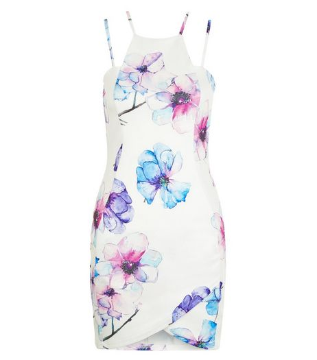 AX Paris Cream Floral Print Strappy Bodycon Dress | New Look