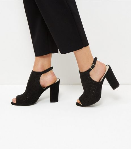 Black Comfort Suedette Laser Cut Out Heeled Sandals | New Look