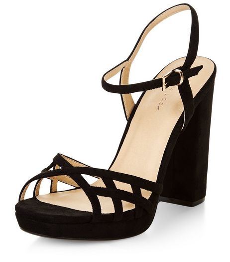 Black Suedette Strappy Block Heel Sandals  | New Look