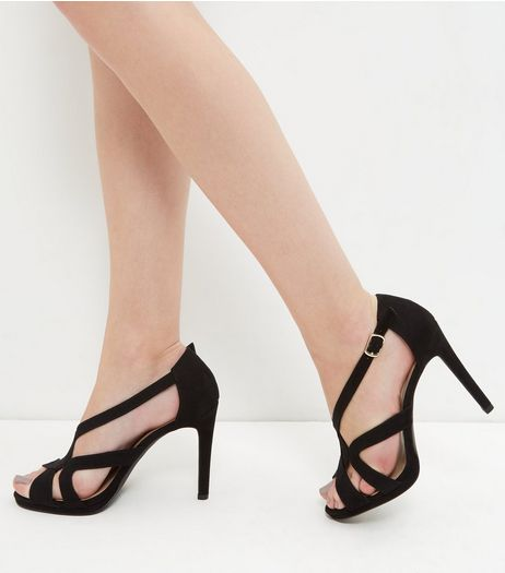 Black Suedette Caged Heeled Sandals | New Look
