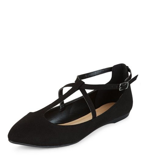 Black Cross Strap Pumps | New Look