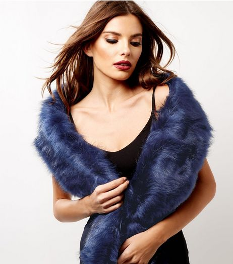 Navy Faux Fur Stole | New Look