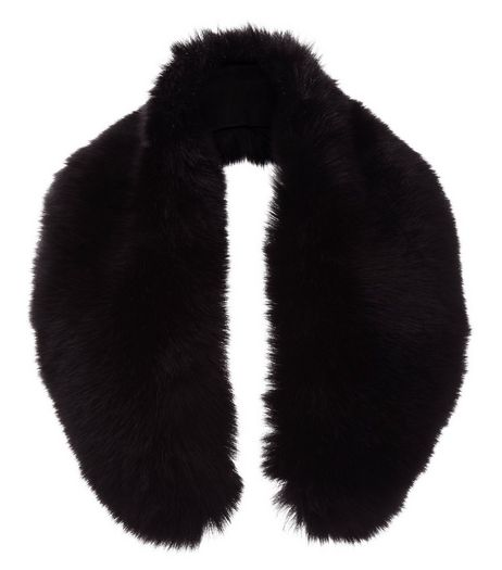 Black Faux Fur Oversized Collar  | New Look