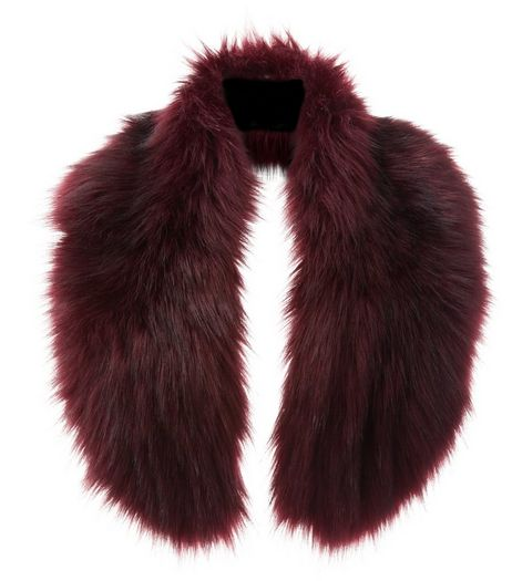 Dark Red Faux Fur Oversized Collar  | New Look
