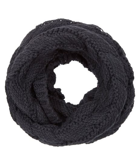 Black Cable Knit Snood  | New Look