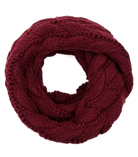 Burgundy Cable Knit Snood  | New Look